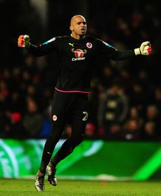 Ali Al-Habsi of Reading celebrates as Yann Kermorgant of Reading (not pictured) scores a last minute winner during the Sky Bet Championship match between Bristol City and Reading at Ashton Gate on January 2, 2017 in Bristol, England.