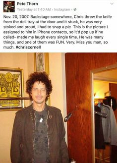 Lol that hair! Chris Cornell, Say Hello To Heaven, Temple Of The Dog, Cornell University, Smiling Man, Jimmy Page, Pearl Jam, Mothers Love, Most Beautiful Man