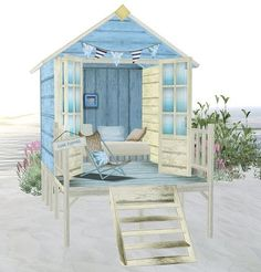 This is it!!!!  Think we can get someone to build this for Megan's new room!!! She loves it!  The steps porch, room, doors, bed, chair, with tiki hula roof and white shears inside.  Copy beach scene on main wall.  Same color blue house.