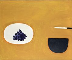 William Scott, [Grapes, Bowl and Knife], 1976, Oil on canvas, 63.5 × 76.5 cm / 25 × 30 in, Private collection