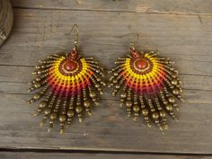 Macrame Owl, Micro Macrame, Macrame Jewelry, Macrame Bracelets, Macrame Earrings Tutorial, Earring Tutorial, Thread Jewellery, Tatting Patterns, Tribal Earrings