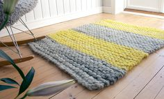 Pickles Røslig is a super super bulky interior yarn made from Old Norwegian Short Tail Landrace and mohair, spun around a linen thread for strength, pattern for this rug at http://www.pickles.no/nordic-wool-rug