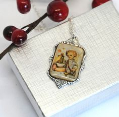 hummel necklace,  christmas necklace, collectible necklace, vintage necklace by TheDishandSpoon on Etsy