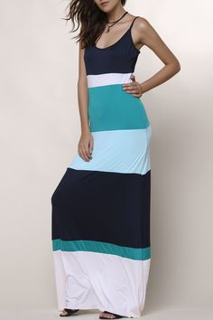 Bohemian Style Spaghetti Strap Color Block Dress For Women