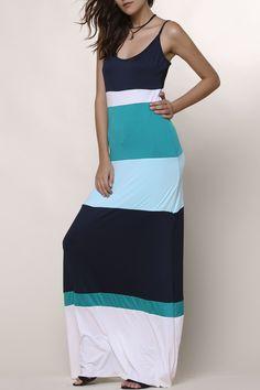 Bohemian Style Spaghetti Strap Color Block Dress For Women