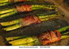 Roasted green asparagus wrapped in Spanish ham.