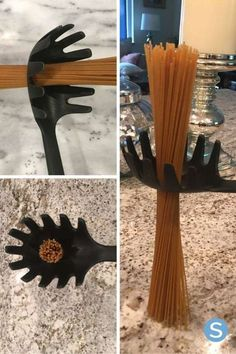 A part le fait qu'elle sert à filtrer l'eau, le trou dans la cuillère à spaghetti sert également à mesurer la quantité de pâtes qu'il faut pour une personne.