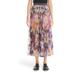 Women's Christopher Kane Long Pleated Skirt ($1,595) ❤ liked on Polyvore featuring skirts, multi, floral skirt, floral printed skirt, flower print skirt, christopher kane and long skirts