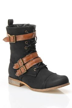 Mesa Three Buckle Military Boot In Black & Tan