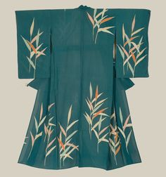 """An unlined summer """"Ro"""" silk kimono featuring yuzen-dyed and painted bamboo shoots.  Taisho to early Showa period (1911-1939).  The Kimono Gallery"""