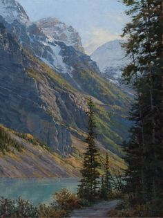 Lakeshore Trail-Lake Louise 40 x 30 Impressionist Landscape, Landscape Art, Landscape Paintings, Landscapes, Mountain Art, Painting Videos, Artist, Artwork, Nature