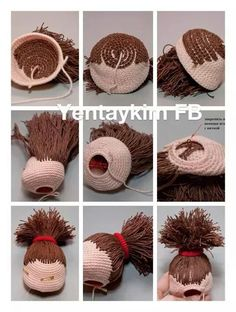 Amigurumi photo tutorial how to hair doll crochet – Artofit This Pin was discovered by Shr Great ideas for different hair styles & sculpting faces Hair pic - no instructions Crochet Dolls Free Patterns, Crochet Doll Pattern, Doll Patterns, Amigurumi Patterns, Crochet Doll Clothes, Knitted Dolls, Hair Yarn, Crochet Dragon, Doll Tutorial