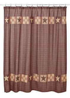Bradford Star Shower Curtain Bring primitive, country charm to your bathroom decor when you add this Bradford Star Shower curtain to your decor. It measures and is unlined. It features a red, b Primitive Bathrooms, Primitive Homes, Country Primitive, Primitive Decor, Country Bathrooms, Vintage Bathrooms, Country Farmhouse, Farmhouse Decor, Primitive Shower Curtains