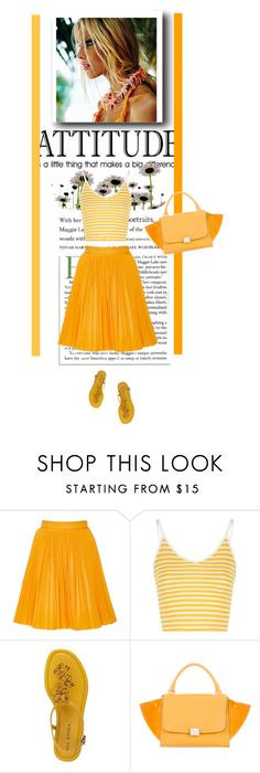 """MSGM Yellow Cotton Plissé Skirt"" by bodangela ❤ liked on Polyvore featuring MSGM, Glamorous, Via Spiga and CÉLINE"