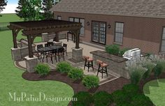 700 sq. ft. of Outdoor Living Space. Areas for Outdoor Dining, Grilling and Fire Pit with Seating. 12' x 14' Cedar Pergola with Column Wrapped