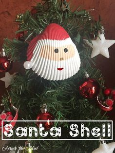 santa shell ornament, christmas decorations, seasonal holiday decor