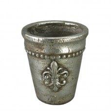 Ghiveci ceramic cu finisaj metalic H14