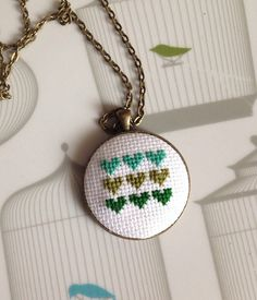Cross My Heart Cross Stitch Necklace by getfeltup on Etsy