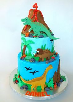 Dinosaur Cake, Sculpted Rice Crispy Treat Volcano