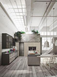 Expression Of The Latest U201cUrbanu201d Trends: Loft Kitchen. Industrial KitchensVintage  IndustrialModern Kitchen DesignsModern ... Part 39