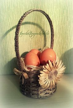 Плетеная корзинка своими руками из джута. Мастер-класс с пошаговым фото. Пасхальная корзинка своими руками. Корзинка для пасхальных яиц.