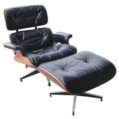 Herman Miller holds its place in history as perhaps the most influential producer of Mid-Century furniture in the United States. Charles and Ray Eames were just two of the iconic designers employed by Herman Miller to reinvent the vocabulary of seating as seen here in this lounge chair and ottoman.