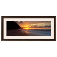 Art.Com Multi Kalalau Beach Hawaii Usa Framed Photographic Print (2.000 NOK) ❤ liked on Polyvore featuring home, home decor, wall art, multi, photographic wall art, beach wall art, beach home accessories, photography wall art and beach home decor