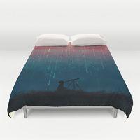 Duvet Covers featuring Meteor rain by Budi Kwan