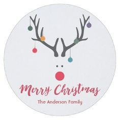 Merry Christmas minimalist and cute reindeer white Round Paper Coaster - diy cyo customize unique special