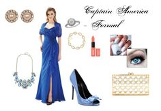 """""""Captain America - Formal"""" by scarlett-imogen-hughes on Polyvore featuring Jasmine, Gucci, Kendra Scott, Effy Jewelry, Charlotte Olympia, Marchesa and plus size dresses"""