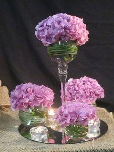 ejemplos de los centros de mesa que se pueden hacer con hortensias ...