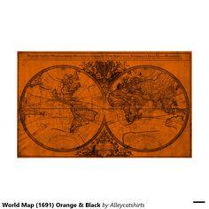 World Map (1691) Orange & Black Poster