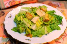 Lee Drummond's Caesar Salad recipe with dressing made in a blender and homemade croutons.