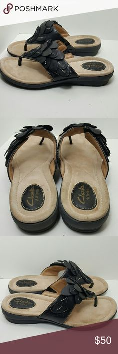 Black, leather Clark's Artisan Shoe Beautiful and comfortable adjustable velcro strap. New without tags. Clarks Shoes Sandals