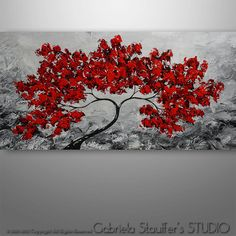 Abstract Painting, Tree Painting, Original Painting, Landscape Painting, Red Tree, Abstract Wall art, Wall Decor, home decor, Large Artwork