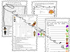 Thanksgiving 2017 Worksheets -Print and Go {Thanksgiving A