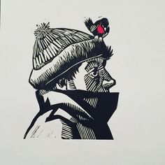Bobbin' - lino print of a robin on a hat by James Donovan Art