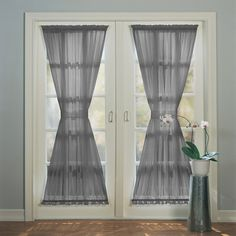 No918 Emily Sheer Voile Single Door Curtain Panel & Tieback (75 SAR) ❤ liked on Polyvore featuring home, home decor, window treatments, curtains, grey, sheer voile curtains, gray sheer panels, gray sheer curtain panels, grey sheer panels and rod pocket sheer curtains