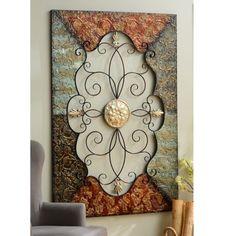 Kirklands Wall Decor Metal embossed scroll plaque | art niche, emboss and dining room walls