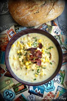 """Aux délices de Vany: Corn chowder """"chaudrée de mais"""" au bacon & pommes de terre (Battle Food #30)"""