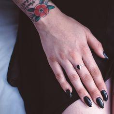 Onyx Teardrop Ring