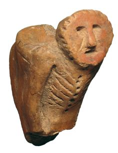 Great Lakes region, ancient Native American human effigy clay pipe.