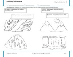 Printable Landform Worksheets | Landforms for Kids - Volcano, Valley, River, Waterfall - Best Social ...