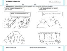 Printable Landform Worksheets | Landforms for Kids - Volcano, Valley, River, Waterfall - Best Social ...