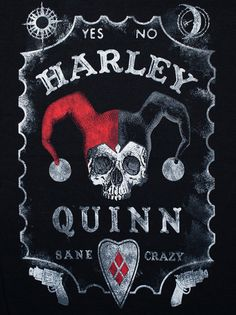 "Harley Quinn ""YES-NO, SANE-CRAZY"", Black Short Sleeve T-shirt"