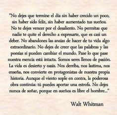 Hermoso. Walt Whitman