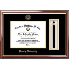 Campus Images NCAA Bradley University Tassel Box and Diploma Picture Frame