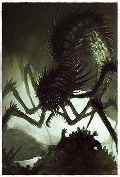 Ovodeposition by RyanLovelock.deviantart.com on @deviantART Dark Creatures, Mythical Creatures Art, Mythological Creatures, Alien Creatures, Magical Creatures, Monster Concept Art, Fantasy Monster, Monster Art, Creature Concept Art