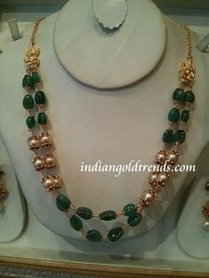 Latest Indian Gold and Diamond Jewellery Designs: Emerald and south sea pearl beads chain Gold Jewellery Design, Bead Jewellery, Beaded Jewelry, Diamond Jewellery, Quartz Jewelry, Temple Jewellery, Indian Wedding Jewelry, Indian Jewelry, Bridal Jewelry