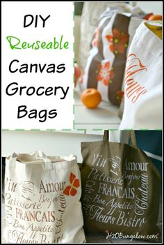 Canvas reuseable washable DIY grocery bags last longer, hold more and are easier to use, besides being a lot more sanitary than flimsy mass produced ones.